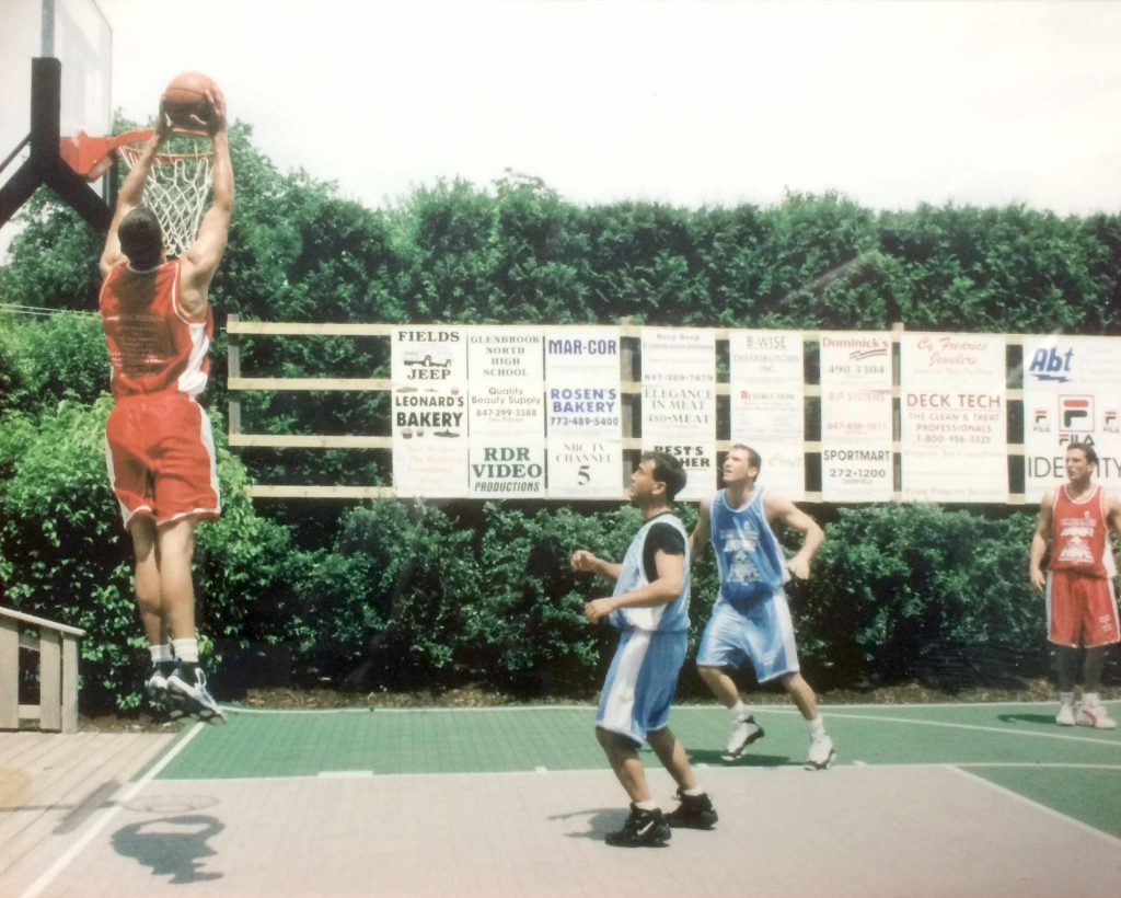 Me dunking during a training session.