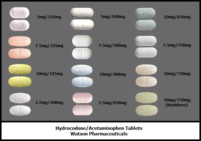Different kinds of Hydrocodone-acetaminophen tablets
